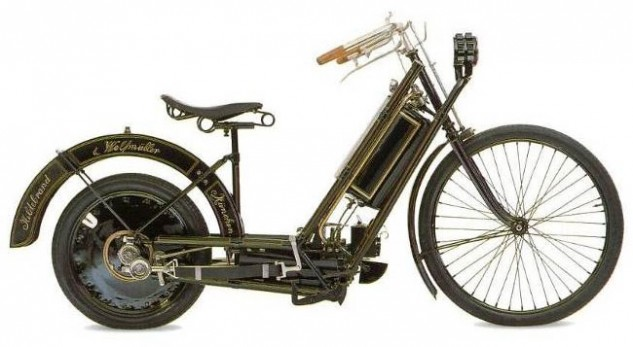 The state of the art in 1894: The Hildebrand-Wolfmuller, the world's first production motorcycle.