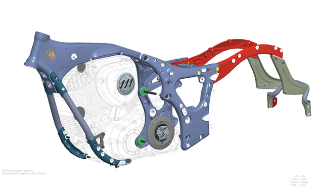 Aluminum frames aren't just for sportbikes anymore. Seen here is the structure for the 2014 Indian Chief.