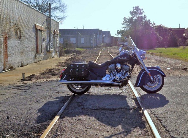 Here's my borrowed Indian Chief Classic on its way to the wrong side of the tracks in Brenham, which is every bit the quaint Texas town you'd expect. A nice place to visit.