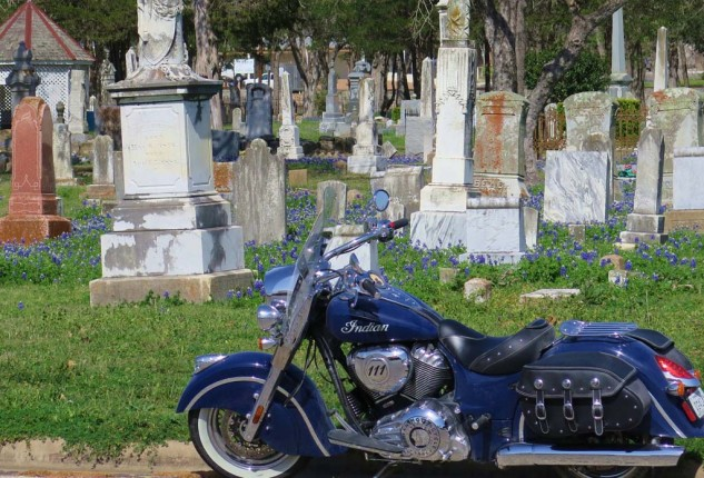 #1 Best Thing to do in Texas: Get plenty of sleep. But seriously, the theme for this trip to Texas (besides riding around on an Indian Chief Classic) was to take in the Texas Bluebonnet foliage outbreak. We were a little early; the only Bluebonnets I found were in this cemetery in LaGrange.