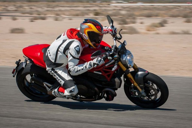 On a medium-speed track like Chuckwalla, even the mighty KTM would briefly lose ground on the Monster on corner exits.