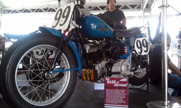 Replica of Emde's 648 Indian Scout ridden to victory in the 1948 Daytona 200. It's likely the new Indian will one day launch a new Scout.