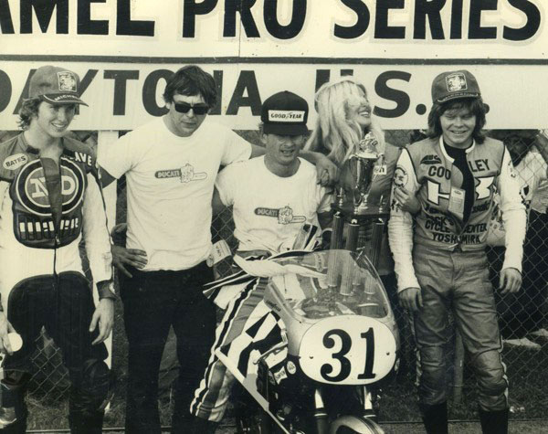 In the old days, magazine editors were busy winning the 1977 Daytona Superbike race and writing great stories about it. Ducati tuner and Executive Editor of Cycle, Phil Schilling (cool shades), rescued me from law school. Bless his heart.