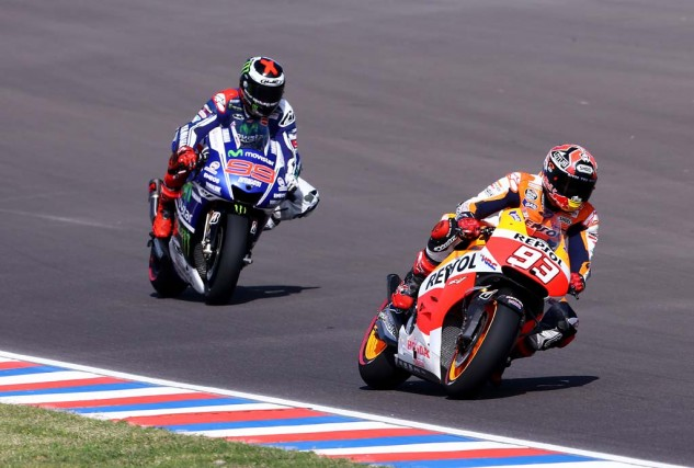Jorge Lorenzo led the first 16 laps but could not defend the lead against Marc Marquez.