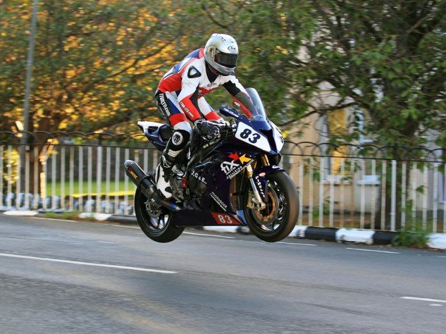 Graham English flies over Ballaugh Bridge on his secondhand BMW S1000RR. Photo: Wheelie Extreme