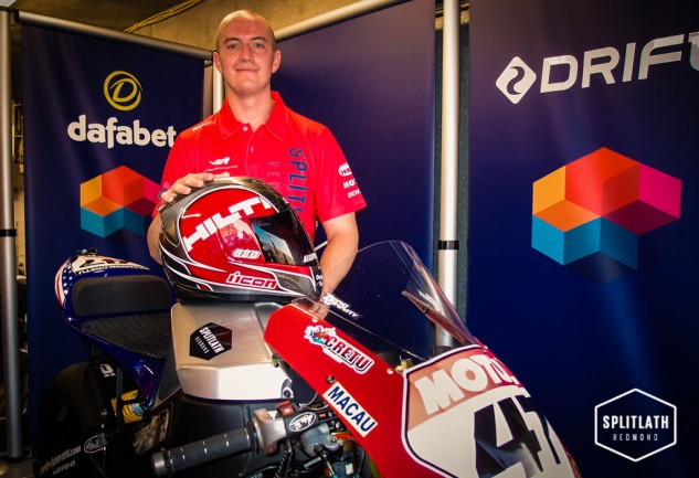 Brandon Cretu, an MBA student and construction worker, didn't own a motorcycle when he decided to go racing. Here he is at Macau with his EBR 1190RS.