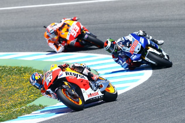 Dani Pedrosa, Jorge Lorenzo and Marc Marquez made up 11 of 12 podiums in their native Spain last season.