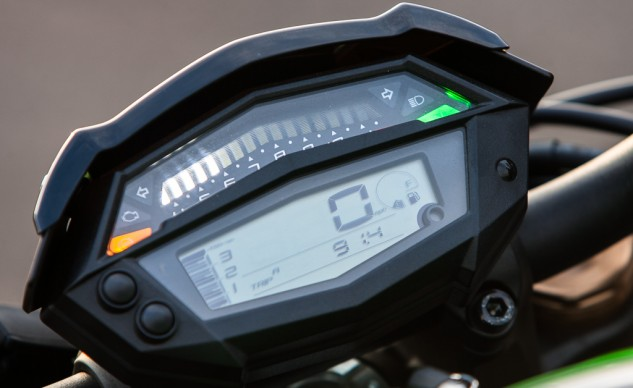 An interesting feature of the Z's instrument cluster is the separation of the tachometer's readout, with 1000-3500 rpm left of the MPH indicator while 3500 to redline resides as an illuminated display across the top.