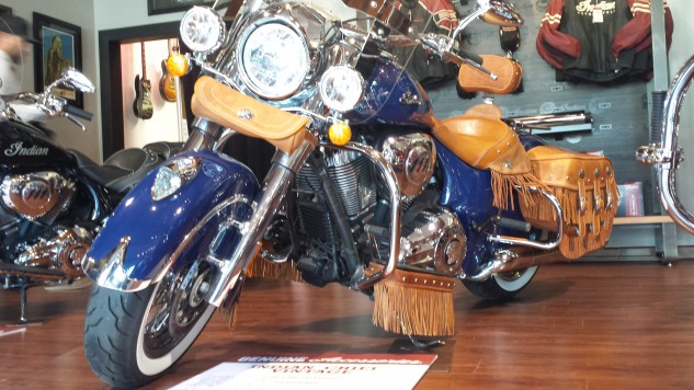 This Chief Vintage is fitted with Indian's Stage 1 Slip-On Exhaust ($699.99) which also includes an ECU reflash to suit the freer-flowing pipes. Floorboard decoration will please fringe fetishists.