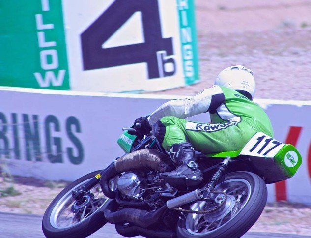 David Crussell points his '78 Kawasaki down the hill on the way to victory in the Vintage Superbike Heavyweight class.
