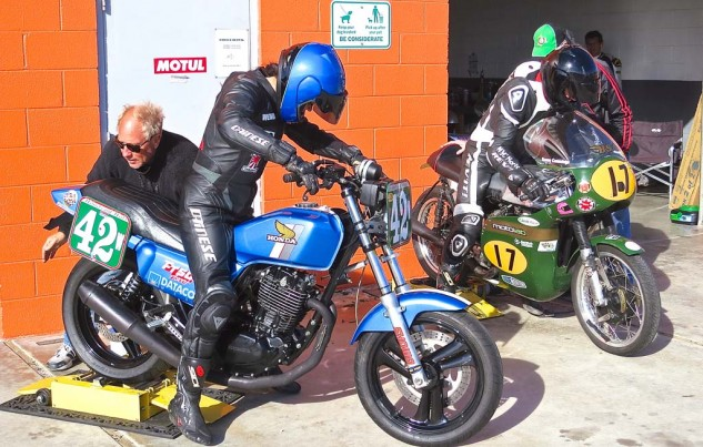 Wendy Newton (left) and Kenny Cummings fire up for practice. Wendy came fifth in Vintage Superbike Lightweight on Saturday, and fourth Sunday.