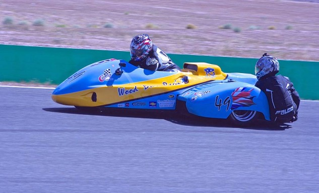 Chris Wood's Suzuki-powered hack came second in Sidecar F1.