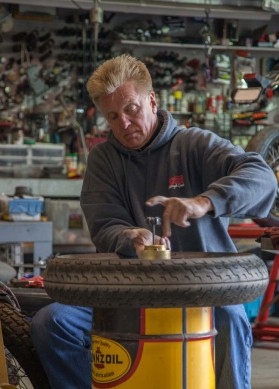 Davis does his own work on his bikes and has a shop and tools to die for.