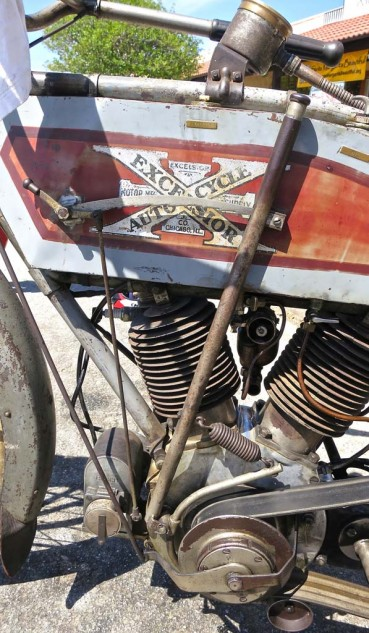 "Dave Bettencourt's 61-inch 1913 Excelsior belt drive. The value of unrestored bikes has risen considerably in recent years. ""They're only original once."""
