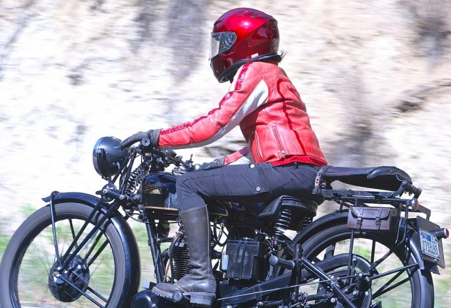 Kim Young gets down the road on a 1930 Velocette KSS. Smartly.