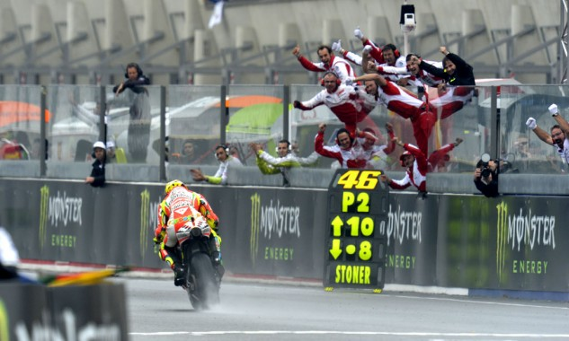 Two of Valentino Rossi's three podiums with Ducati came at Le Mans in wet conditions.