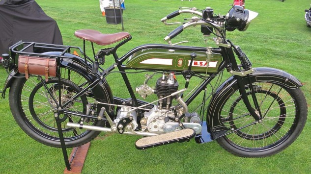 Displayed in the Antique class, a 1918 BSA owned by Budd Schwab.