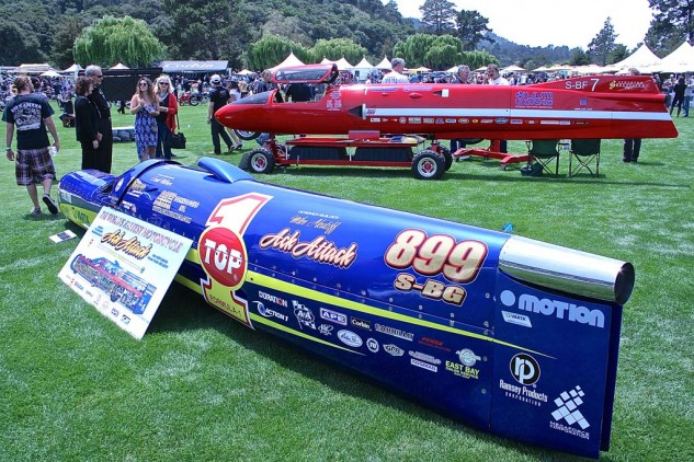 The World's Fastest Motorcycle, Ack Attack, 376 mph. Powered by Suzuki, built by Mike Akatiff and piloted by Rocky Robinson. In the background, the BUB steamliner, built by Denis Manning, former record holder at 367 mph.