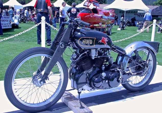 Rollie Free's record-setting Vincent Black Lightning, 150 mph in 1948, with rider wearing an early Speedo and slippers. Now owned by California collector Chip Connor.