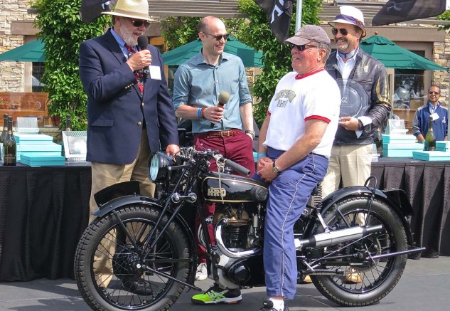 Best of Show: Smiles all around for Gene Brown's 1925 Vincent HRD Python Sport, which was also awarded the top prize in the Antique class.