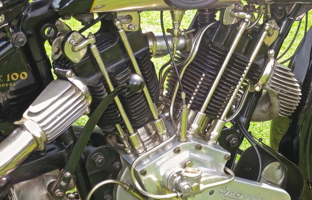 When all the hardware was visible; the Brough engine is a collage of bits and pieces.