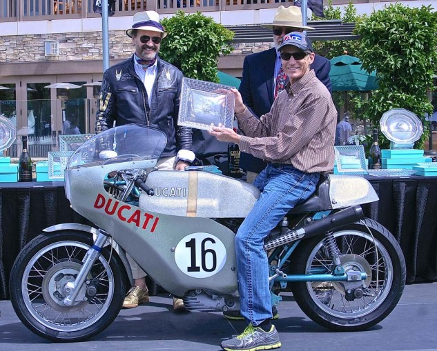 """Bevelhead John L. Stein won both first place in the Competition class and the FIVA Preservation award, for the bike best representing a """"significant cultural artifact."""" Of which he is also one."""