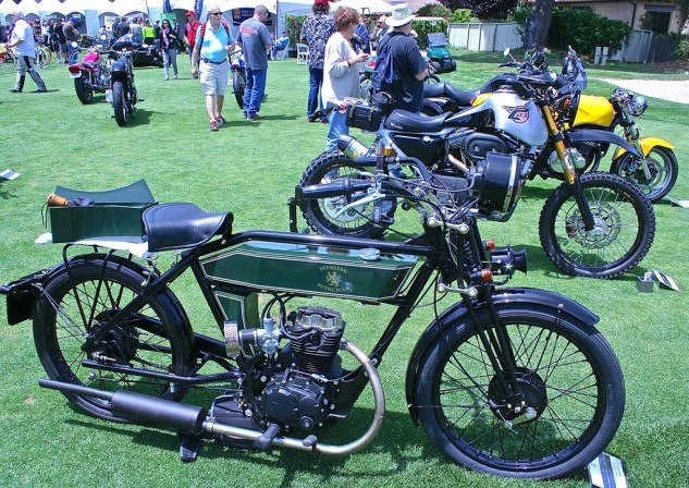 The 2014 Sterling Autocycle features 1920s style with a modern engine. Built in Italy by the Black Douglas Motorcycle Co., this was its first stateside appearance.