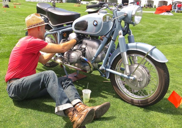 Tim Stafford tidies up his 1966 BMW R50.