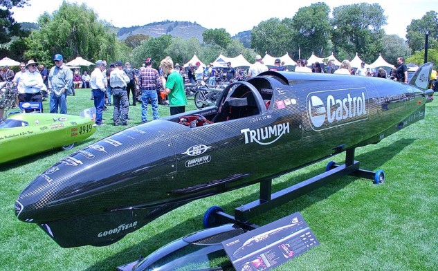 The latest Triumph-powered LSR shell, the Castrol Rocket, employs two turbocharged Rocket III engines and makes 1000 horsepower. The 25.5-foot bullet will shoot for 400 mph with racer Jason DiSalvo at the controls.