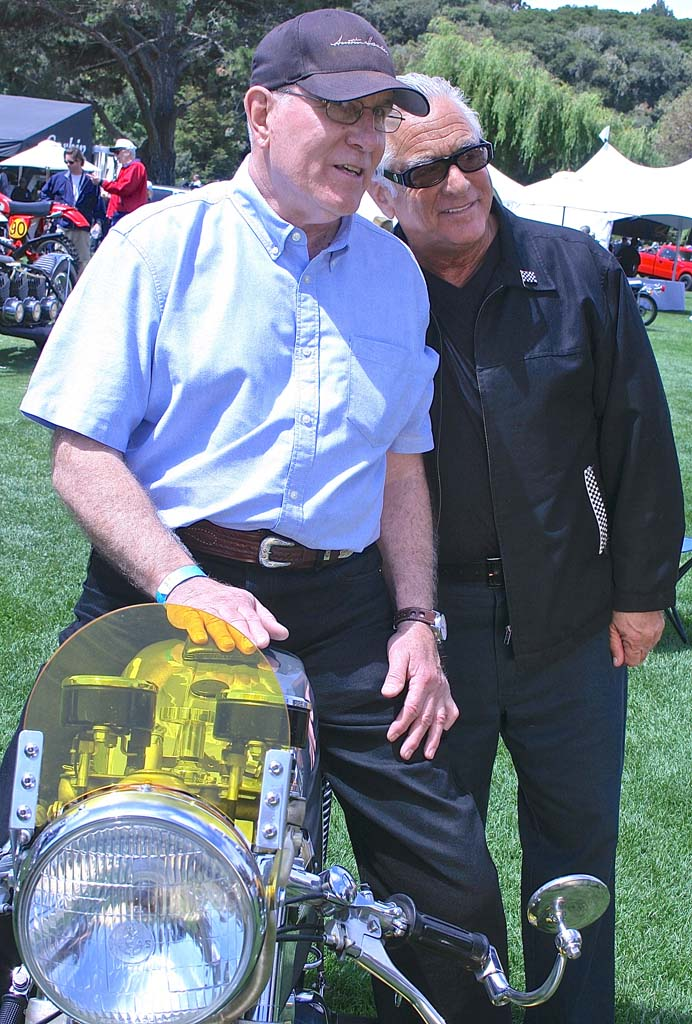 Craig Steggall with storage warrior and Triumph T100 owner Barry Weiss