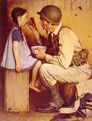 "This classic Norman Rockwell illustration titled: ""The American Way"" depicts a GI feeding a child out of his mess kit. On the floor is his Thompson submachine gun."