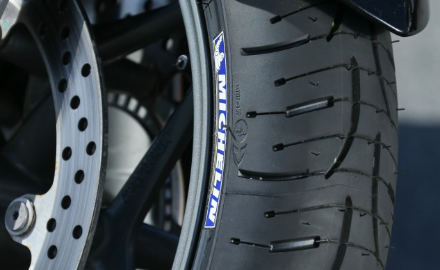 Close up of Michelin Pilot Road 4 front tread pattern