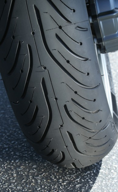 Close up of Michelin Pilot Road 4 rear tread pattern