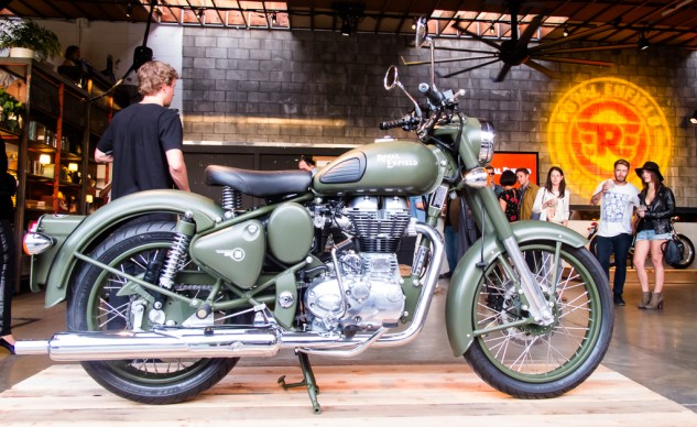 Classic Battle Green motorcycle
