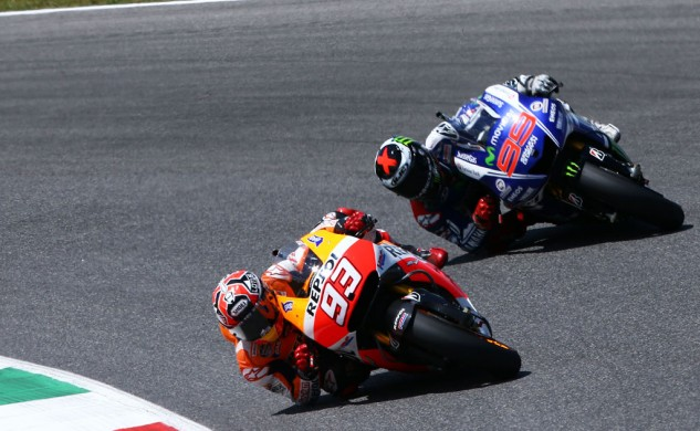 Marquez-Lorenzo, Lorenzo-Marquez, Marquez-Lorenzo. The two studs swapped leads several times with Marquez finishing ahead by just 0.121 seconds.