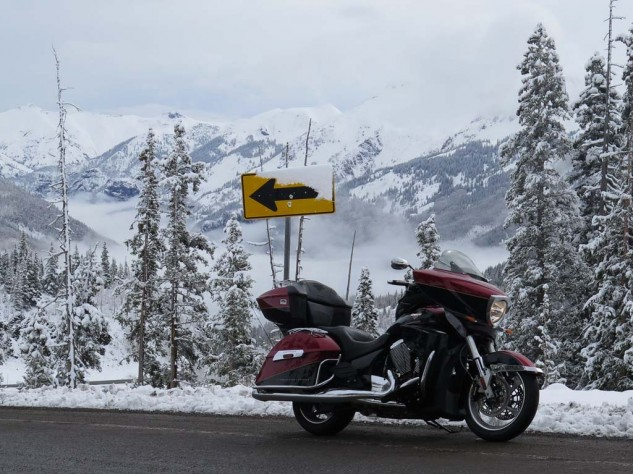 Springtime in the Rockies: Red Mountain Pass on Highway 550 south of Ouray, temperature 35 degrees. Thank god for heated grips and seat.