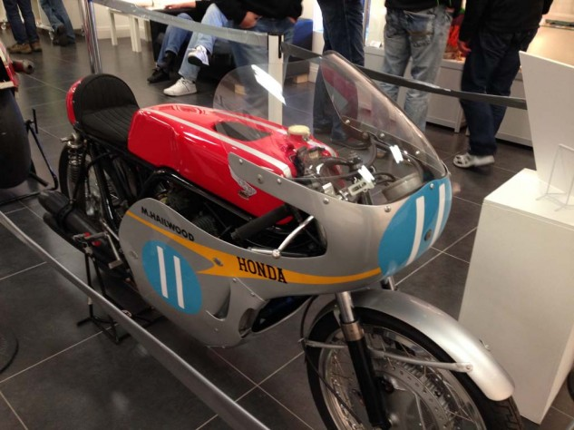 "Mike ""the Bike"" Hailwood's Honda racer on display"