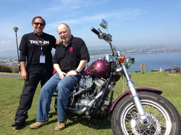 Me with Manx Radio star Stu Peters and his cherished H-D, 'Roxanne.'