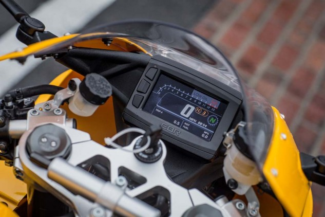 The full-color TFT digital display is a nice touch for the premium-priced 1190RX. Gauges include the obvious, like speedo and bar graph tach, but also incorporates a gear-position indicator, TC-level indicator, dual tripmeters, MPG calculator, and much more. The three buttons on the side are needed to manipulate different functions within the menu screen, including TC.