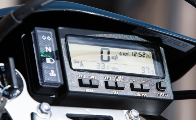 The DR-Z has a digital instrument cluster with twin tripmeters, a clock, timer and stopwatch functions. The Zero's curb weight is 41 pounds lighter than the DR-Z, but the Suzuki's CoG is lower in the chassis. Ask your grandpa to tell ya about carburetors.