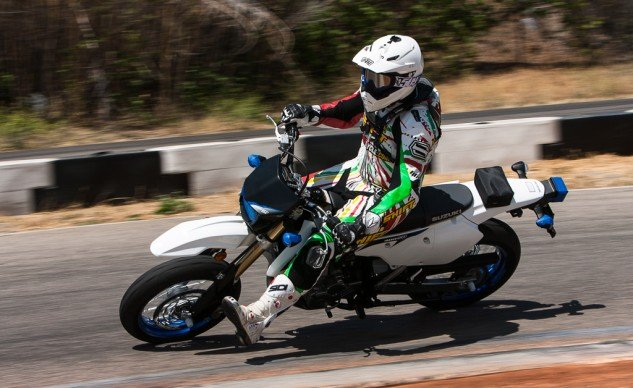 Besides its lofty seat height (35.0 in.) the DR-Z400SM is a very unintimidating motorcycle. It's enough motorcycle to perform commuter duties and weekend fun rides, and it's also fun for a day at the track.