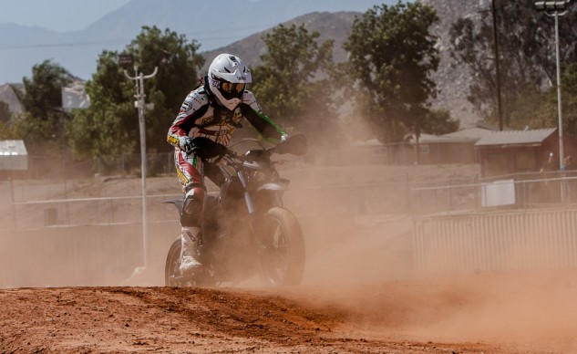 When it comes to supermoto, especially the part about riding a bike with street tires in the dirt, the Zero makes a good beginner bike because there's no shifting to worry about.