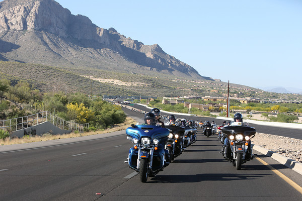 The 150 or so bikes on the charity ride often stretched out for more than a mile.