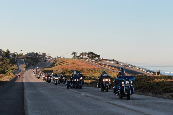 The 20th annual Kyle Petty Charity Ride left from a seaside hotel resort in Carlsbad, Calif. and briefly went northward, along the Pacific Ocean, before eventually turning east and headed toward Florida.