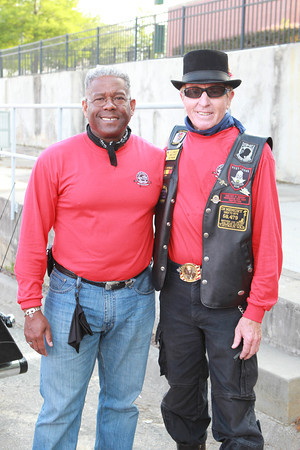 Former Florida congressman Allen West, a first-year participant on the Ride but a long-time motorcyclist, poses with 20-year Ride veteran Darrell Andrews. Because he's often seen on Fox News, West drew plenty of autograph-seekers at fuel stops.