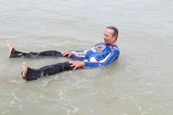 Kyle Petty went surfing in the Pacific the day before leaving California for his 20th annual Charity Ride Across America. And true to his word, he didn't hesitate to frolic in the Atlantic within an hour of arriving in Florida eight days after leaving the West Coast.