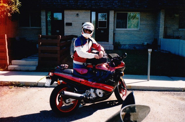 This is what sport-touring looked like for me in 1990. My school backpack and a second-hand tank bag carried the supplies needed for a four-day road trip to Glacier National Park, and an inflatable hemorrhoid cushion supplied all-day comfort to the Hurricane's narrow seat.