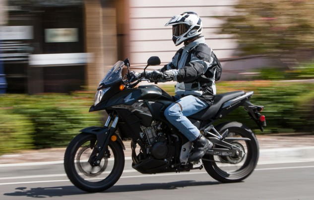 As shown by our 5-foot 11-inch test rider, the CB500X tallish seat height, comfortably positioned footpegs and an easy reach to the handlebars lends to being a commodious seating position for riders of all sizes.