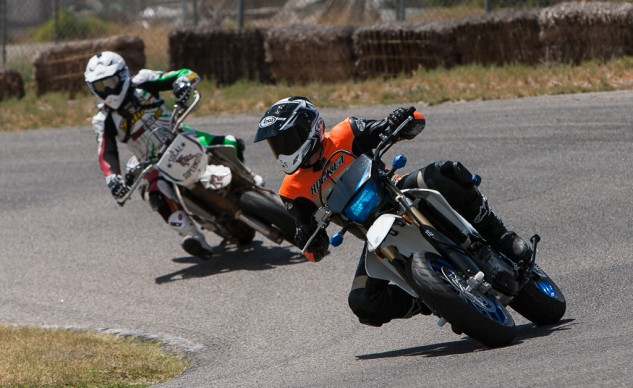 "Old habits die hard, and sometimes sticking a knee out just feels more comfortable than using a foot. ""I prefered riding long sweepers in sportbike style while chicanes were best ridden in supermoto style,"" Tom says."