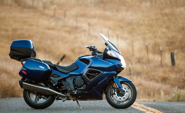 If you ride in a lot of foul weather, the Trophy pokes the most peaceful hole through it. That single-sided swingarm and standard centerstand make tire changes a breeze too.